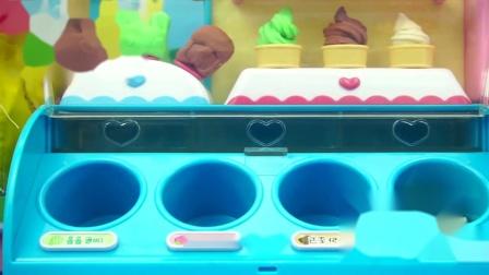 小猪佩奇的蓝色雪糕机迪士尼玩具,这么多口味小朋友会喜欢哪种?
