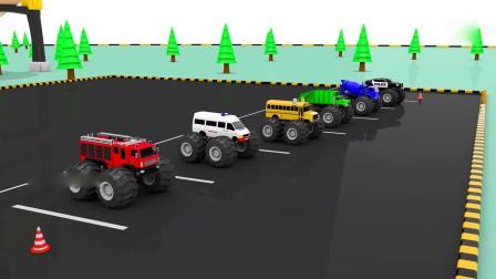 玩具车游戏视频 大脚车竞速染色游戏比赛 挖掘机 推土机大卡车汽车总动员动画片中文版