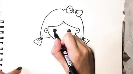 萌萌的小女孩简笔画 学画背着书包的小女孩,家长陪孩子一起画