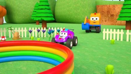 儿童户外游乐场怪兽卡车挖掘机游戏认识颜色 儿童早教益智英语动画