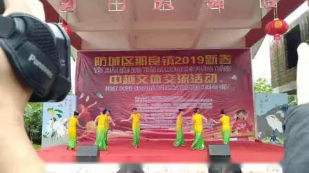 中国广西防城区那良镇2019年新春中越文体交流活动那良政府舞蹈队表演傣家托多里