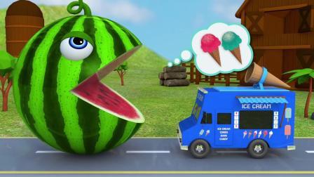 3d足球冰淇淋甜筒卡车游戏认识颜色 儿童早教益智英语动画