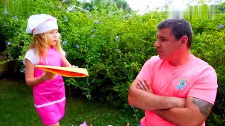 小朋友当厨师玩厨房玩具,做美味披萨