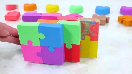 DIY彩虹动力沙制作拼图心型蛋糕玩具 儿童学习颜色-国语720P
