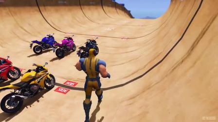 蜘蛛侠骑摩托车比赛。