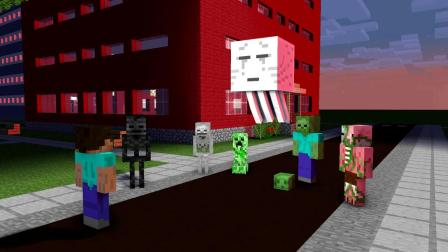 我的世界动画-怪物学院-丧尸的攻击-SpekMan