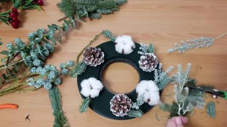 韩式花束花艺插花视频教程 DIY圣诞花环