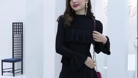 2019春新款女装韩版黑色中长款长袖修身收腰显瘦打底连衣裙蛋糕裙-淘宝网