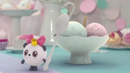 瑞奇宝宝甜甜发现了一大碗非常美味的冰淇淋球,看起来就好可口