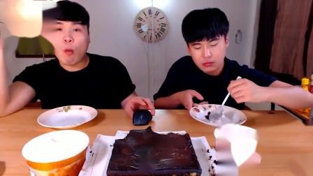 【韩国吃播】Donkey兄弟俩吃橙色浓情巧克力蛋糕冰淇淋