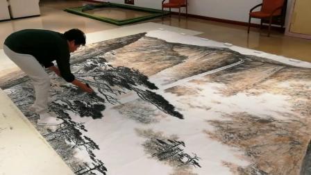马万国创作巨幅国画作品《日出东方》