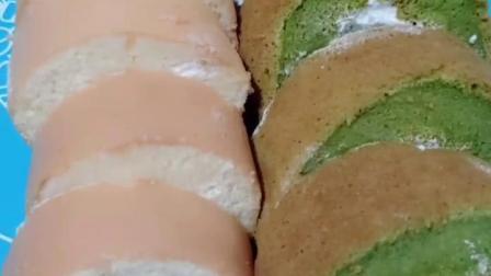 抹茶蛋糕卷p 原味蛋糕卷