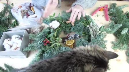 花艺视频 如何为2019年新年制作天然花环DIY圣诞花环3