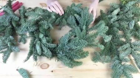花艺视频 如何为2019年新年制作天然花环DIY圣诞花环2
