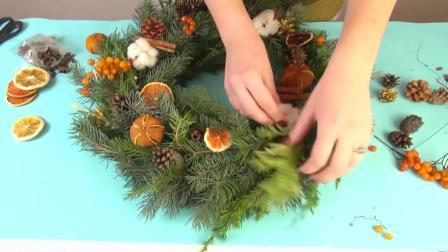 花艺视频 如何装饰圣诞花环!