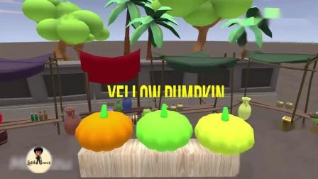 儿童动画,学习英语认识水果苹果、香蕉、菠萝