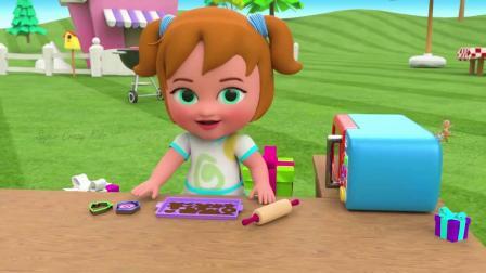 儿童动画,小女孩玩烤箱玩具制作漂亮的动物饼干
