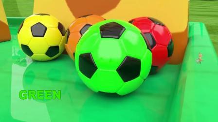 儿童动画,小朋友玩具彩色足球和长颈鹿玩具,认识色彩