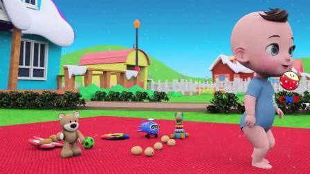 儿童动画,小朋友玩蛋蛋玩具,买圣诞老人的蛋糕吃