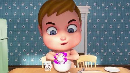 儿童动画,小男孩喂鸭子捡鸭蛋做出好吃的饼干给老爷爷吃