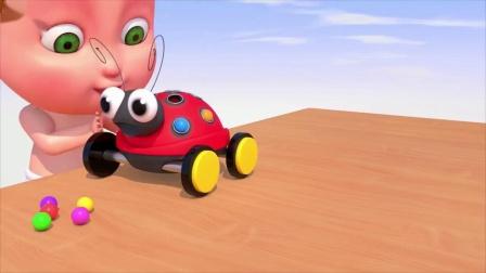 儿童动画,小男孩玩彩色球球和七星瓢虫玩具车,色彩认识