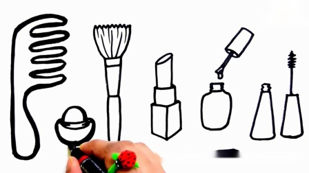 儿童学画画,画梳子、口红、指甲油、铅笔涂上颜色