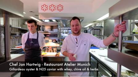 3 Michelin star Oyster, N25 Caviar and whey preparation at Atelier in Munich