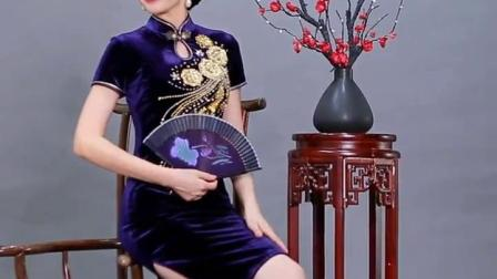老上海丝绒旗袍连衣裙中老年长款修身女春秋款改良婚宴妈妈装走秀-淘宝网