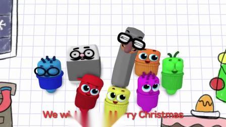 圣诞节快乐,儿童动画,画出圣诞树和圣诞礼物,英语儿歌