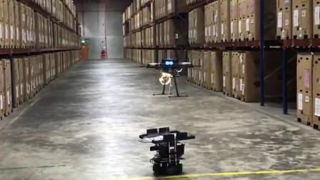 Infinium Scan Drone landing autonomously in a warehouse