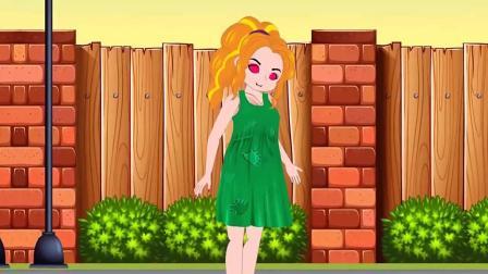 儿童卡通片:小仙女施展魔法送紫发姐姐汉堡包与热狗