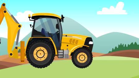 少儿卡通,工程车玩具动画,拖拉机变身挖土机修铁路动画
