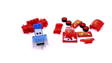 少儿卡通,工程车玩具动画,铲车机器人拼装警车、赛车
