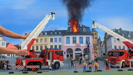 少儿卡通,消防车玩具动画,消防车在城市救火动画