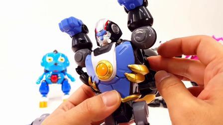 快乐酷宝Q版动物熊猫金鱼猴子狗变形机器人玩具
