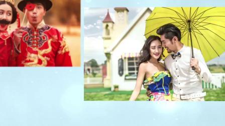 1313 唯美浪漫小清新爱情求婚表白蓝色花纹婚礼婚庆电子相册视频AE模板