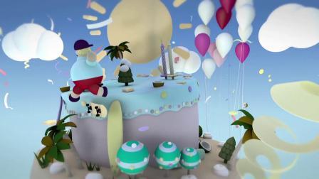 1420 三维立体生日蛋糕卡通风格生日祝福生日快乐晚会开场视频AE模板