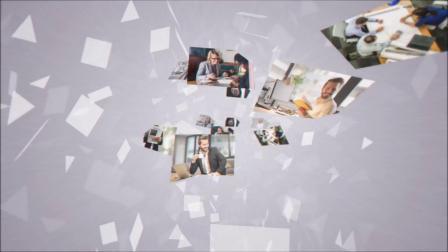 1446 震撼大气图片墙照片墙多图片飞入汇聚企业LOGO演绎片头AE模板