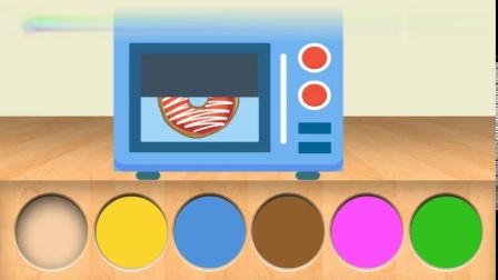 睡衣小英雄跑到微波炉里-变出了各种好吃的甜甜圈-色彩启蒙动画片