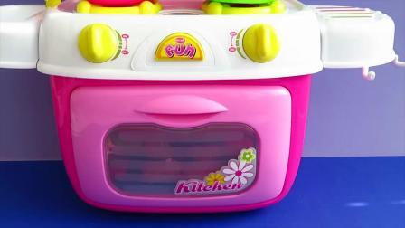 趣味食玩:小正太早教厨房玩具迷你披萨面包烹饪汤烘焙饼干!
