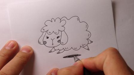草地上奔跑的小绵羊简笔画