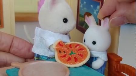 小兔子爱吃披萨真好吃呀