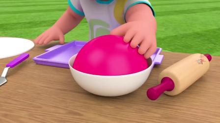 小女孩和彩色面团制作生日蛋糕,认识色彩