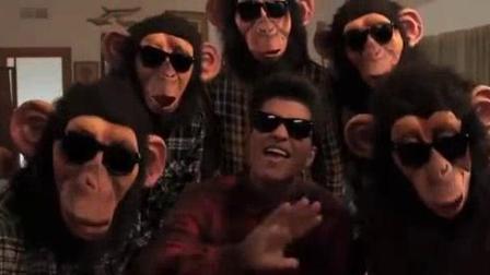 我在火星哥非常有趣的歌《懒汉之歌》, MV请来一堆大猩猩? 太搞笑了!截了一段小视频