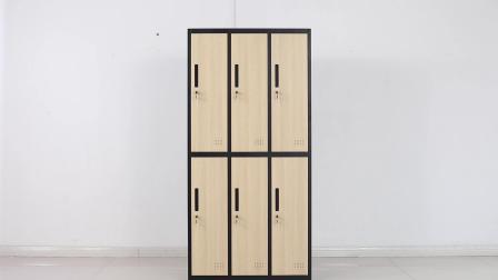 面板鸡翅木纹 六门更衣柜安装视频