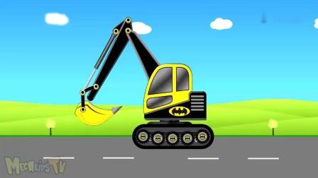 挖土机和翻斗车一起把路上的障碍物移走,儿童益智动画片
