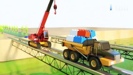 挖掘机、工程车合作组建了一座大桥,儿童英语动画片