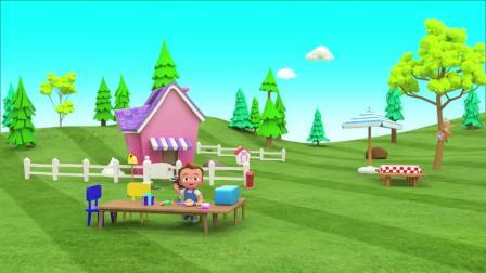 早教益智动画,小男孩用玩具电烤箱做出美味汉堡和披萨