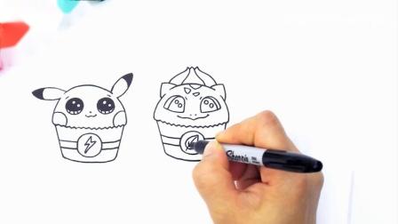 艺术挑战如何将彩色口袋妖怪画成纸杯蛋糕