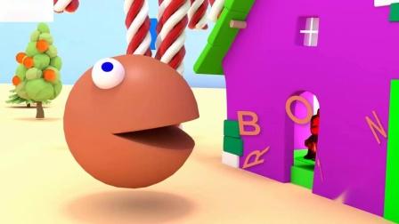 帕克曼学习儿童歌曲颜色和水果与橡皮熊蛋糕糖果儿童教育卡通